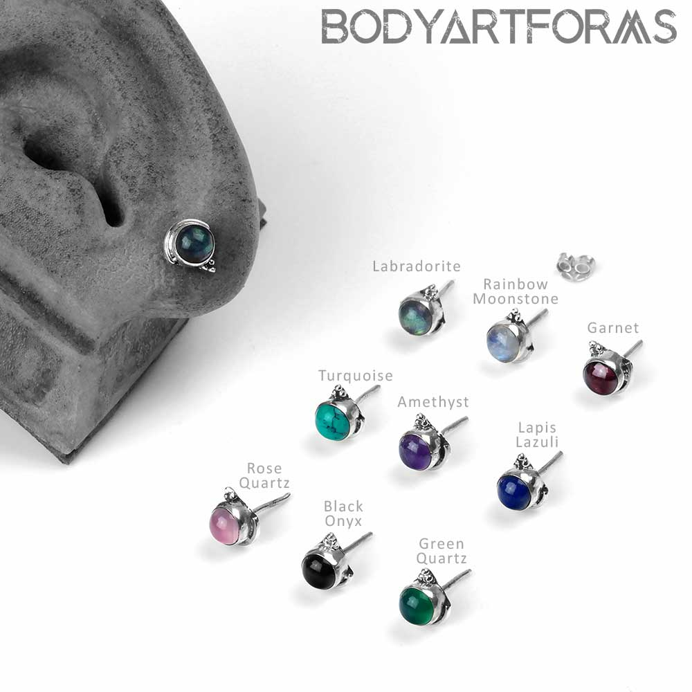 Silver and Stone Stud Earrings