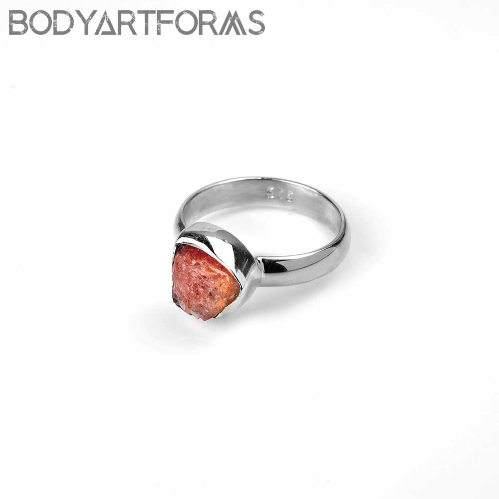Silver and Natural Cut Sunstone Ring