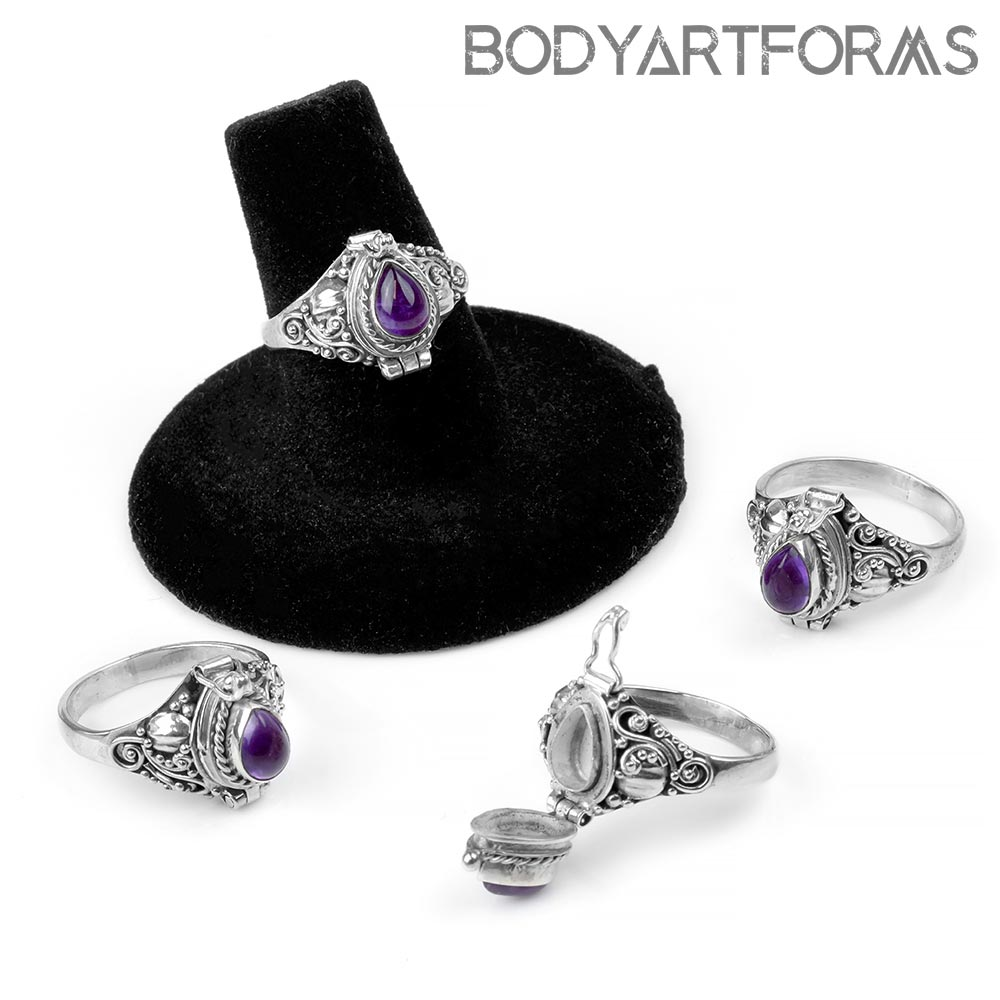 Silver and Teardrop Amethyst Poison Ring