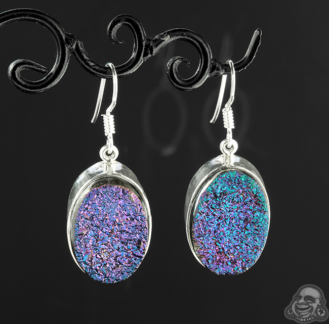 Silver and Titanium Druzy Earrings