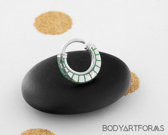 Silver and Turquoise Horseshoe Seamless Ring