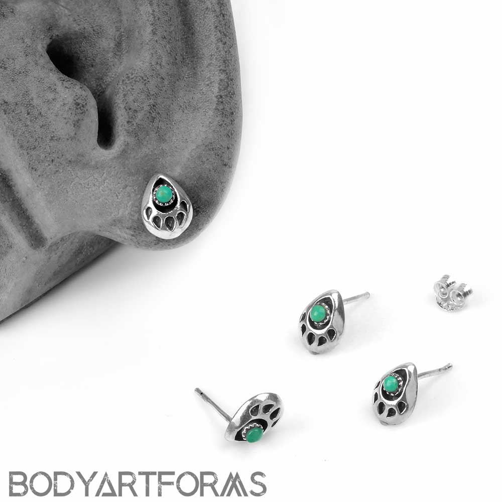 Silver and Turquoise Bear Print Stud Earrings