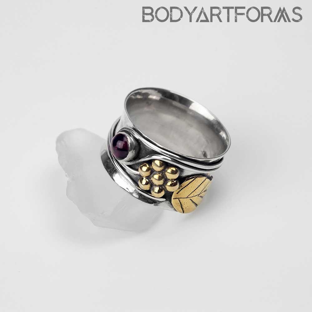 Vineyard Brass and Garnet Flower Ring