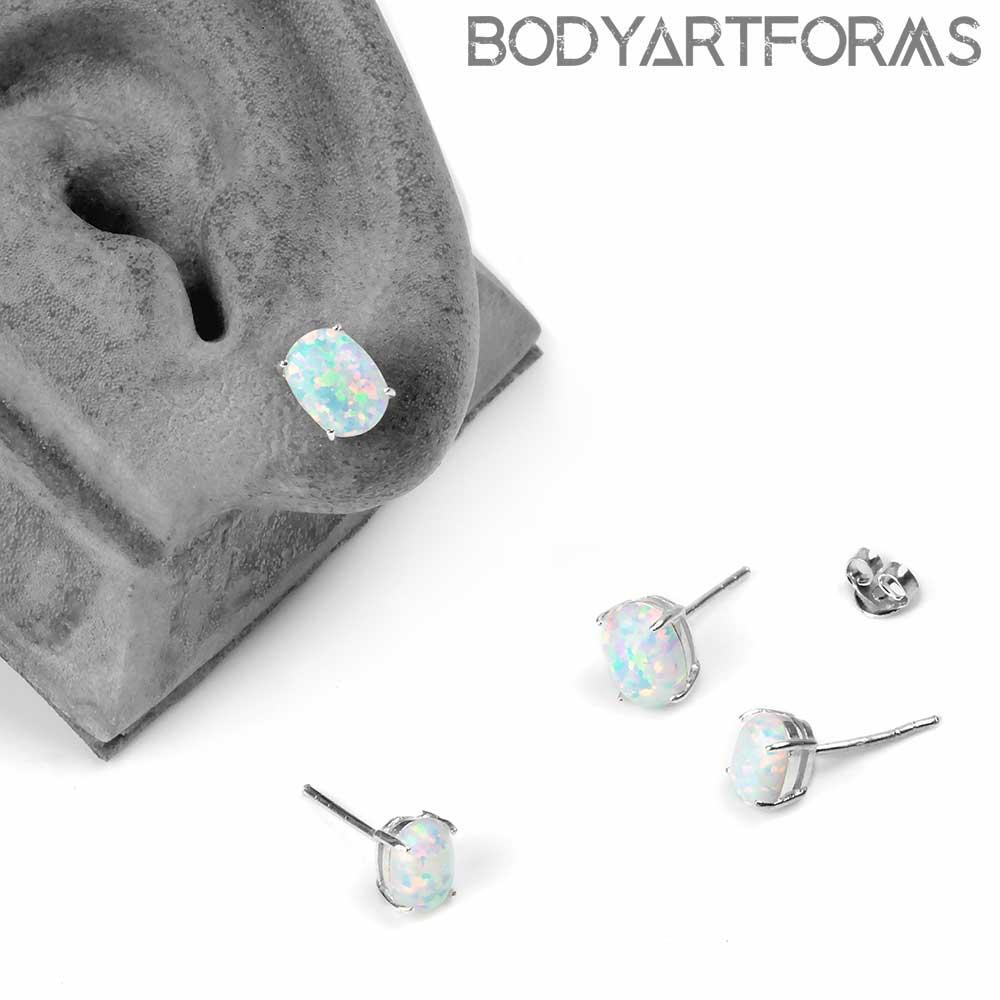 Prong Set Oval Synthetic Opal Earrings