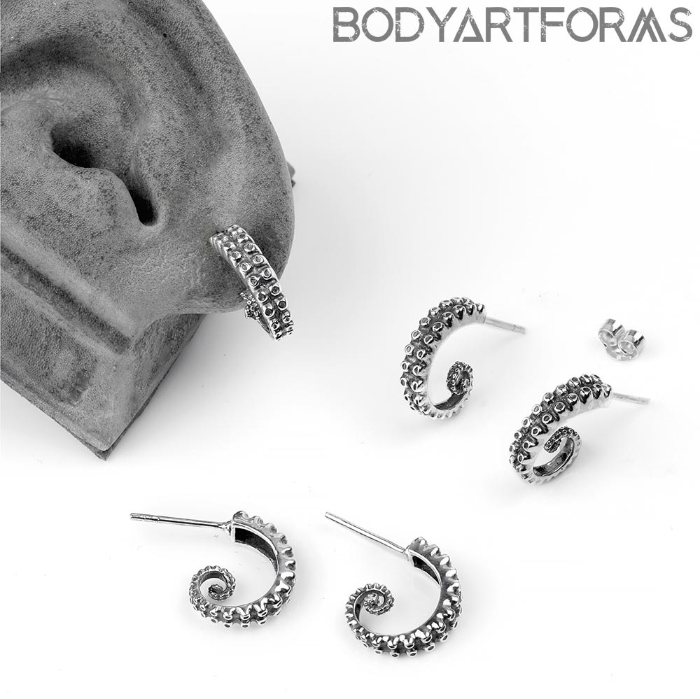 Silver Tentacle Stud Earrings
