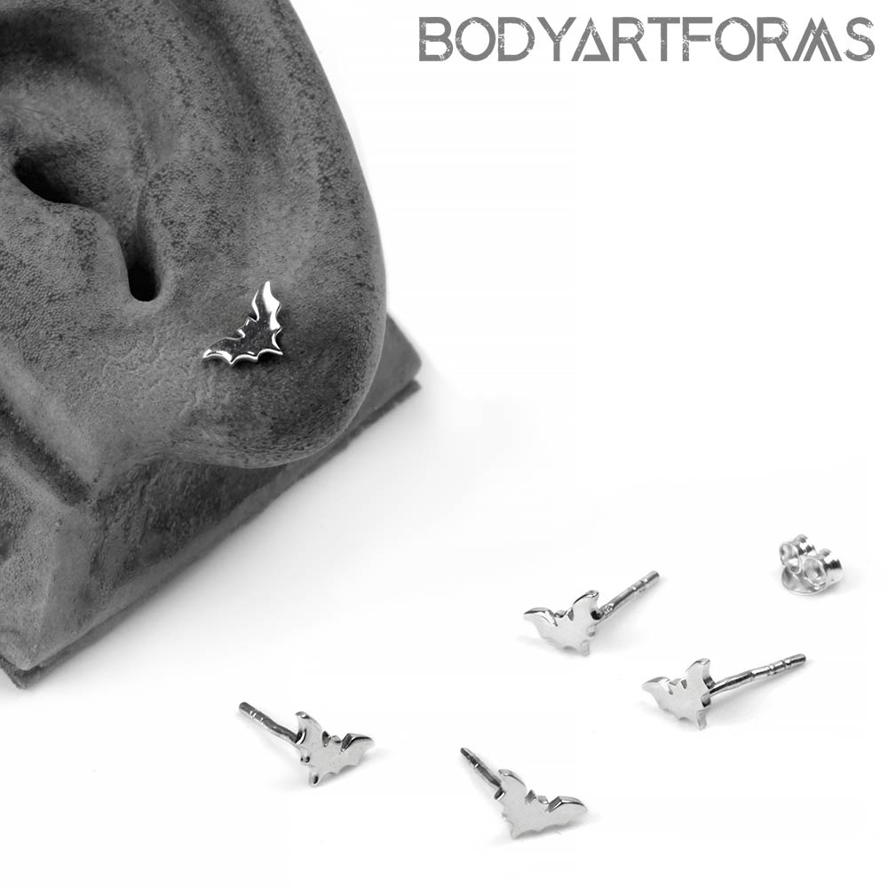Silver Tiny Bat Stud Earrings