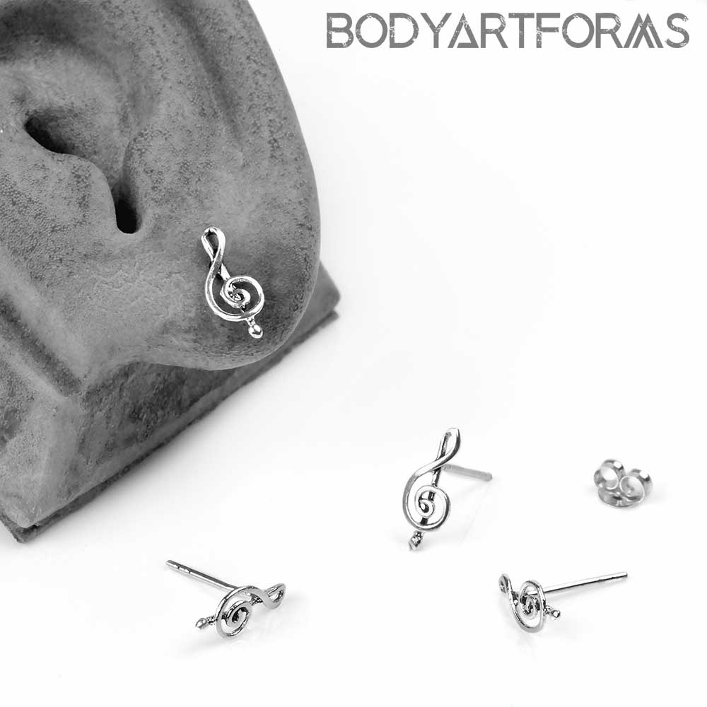 Silver Treble Clef Stud Earrings