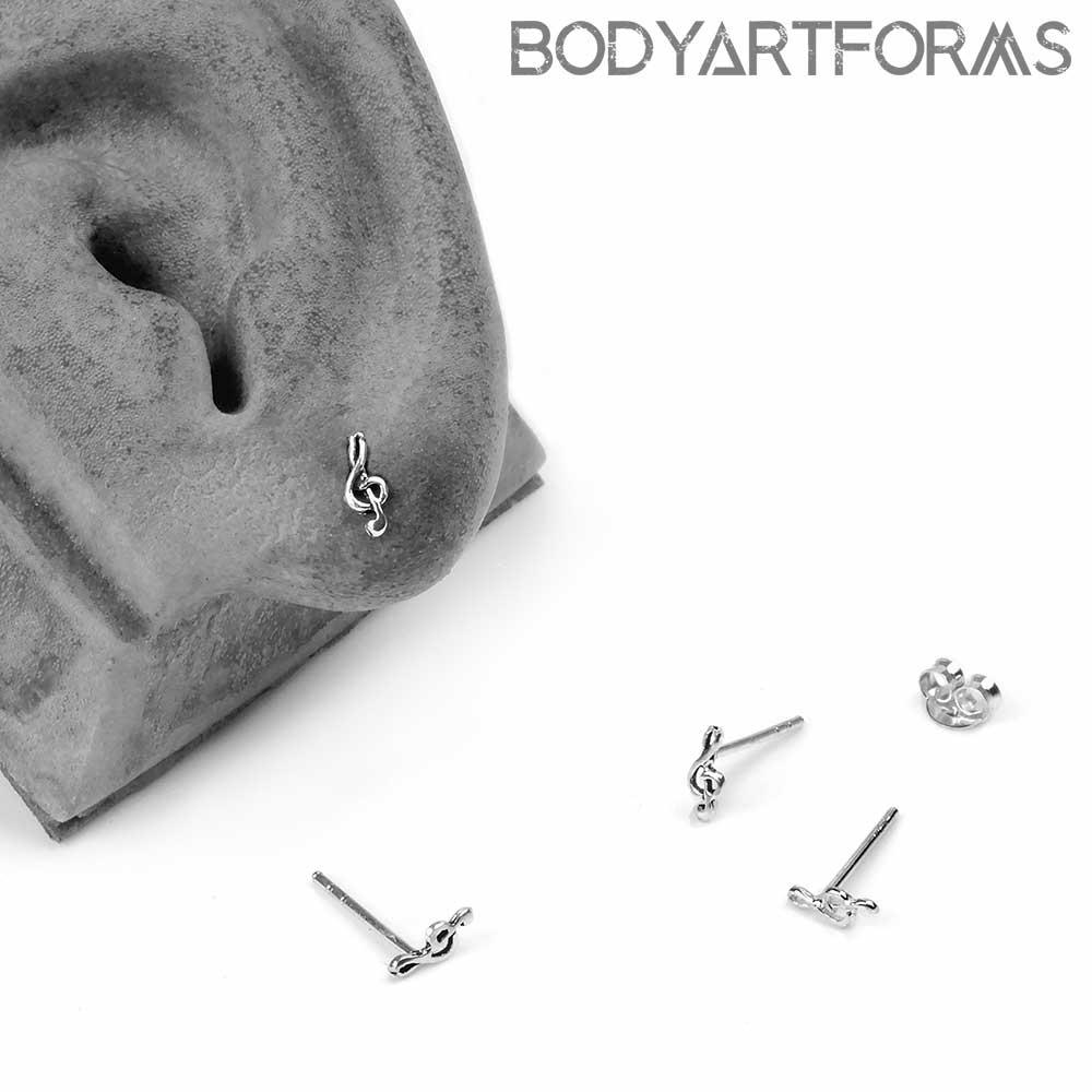 Silver Mini Treble Clef Stud Earrings