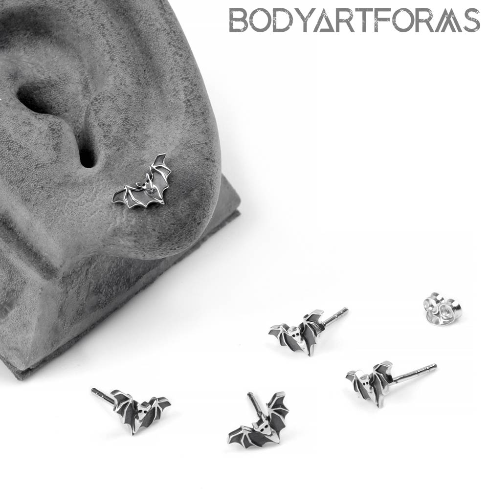 Silver Vampire Bat Stud Earrings