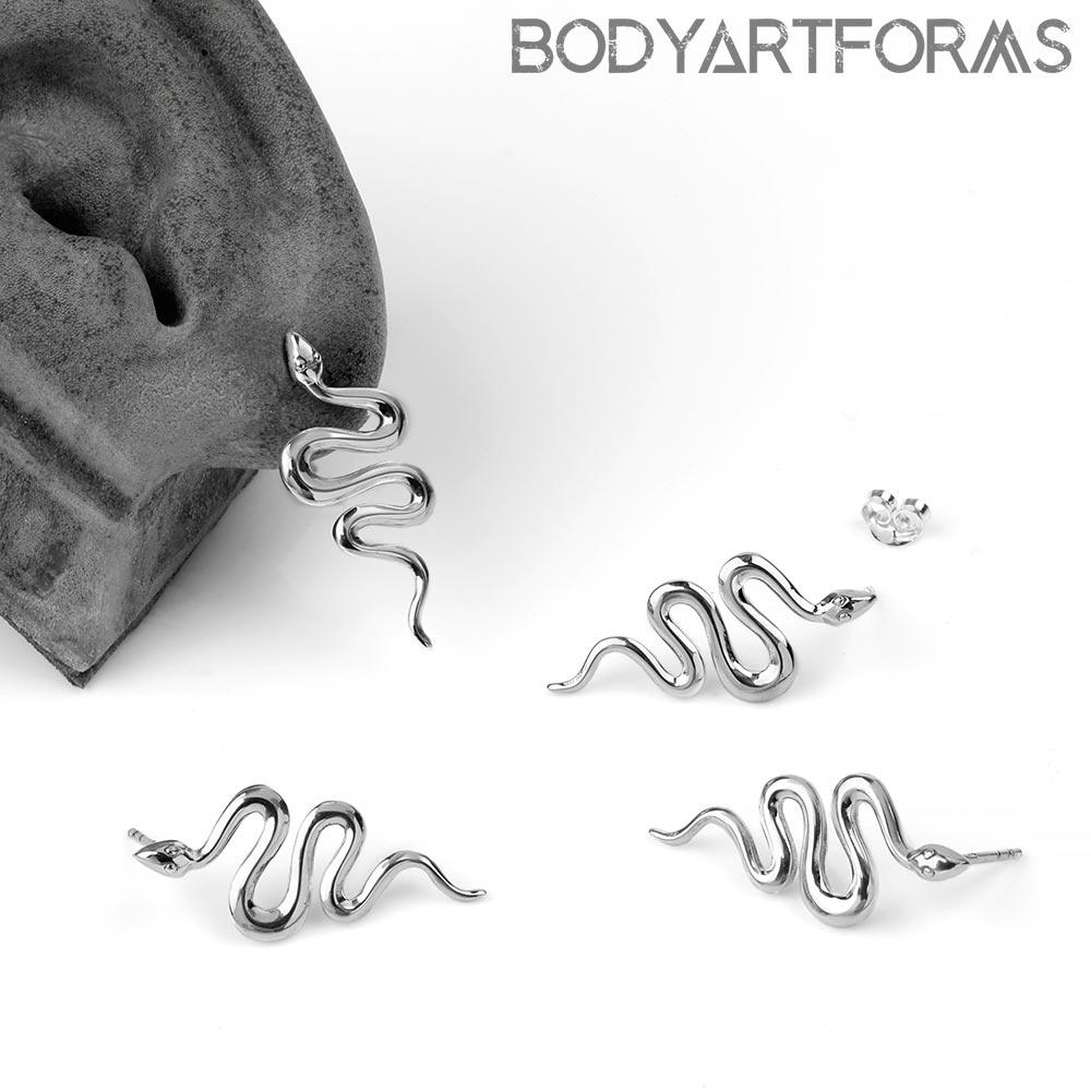 Silver Winding Snake Stud Earrings