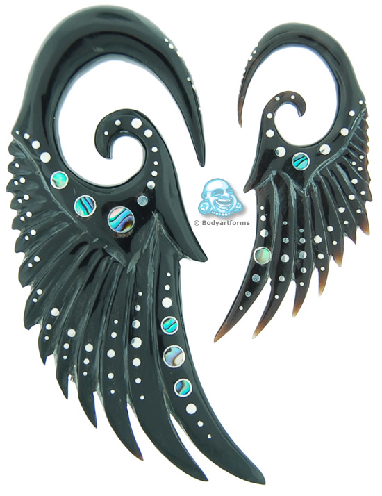 Black Horn Seraphins with Silver and Abalone Inlays