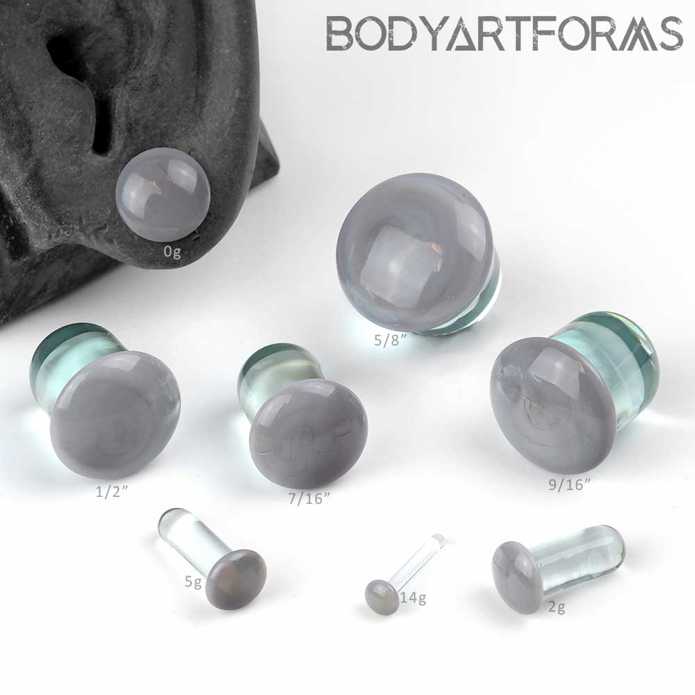 Pair of White Glass Single Flared Color Front Plugs