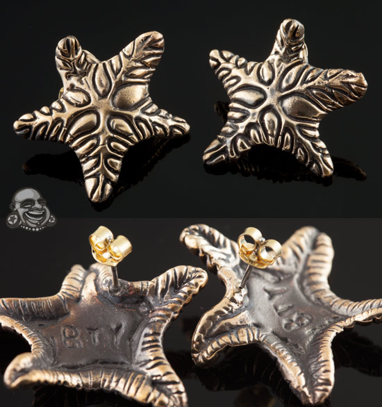 Solid Bronze Cosmic Starfish Earrings