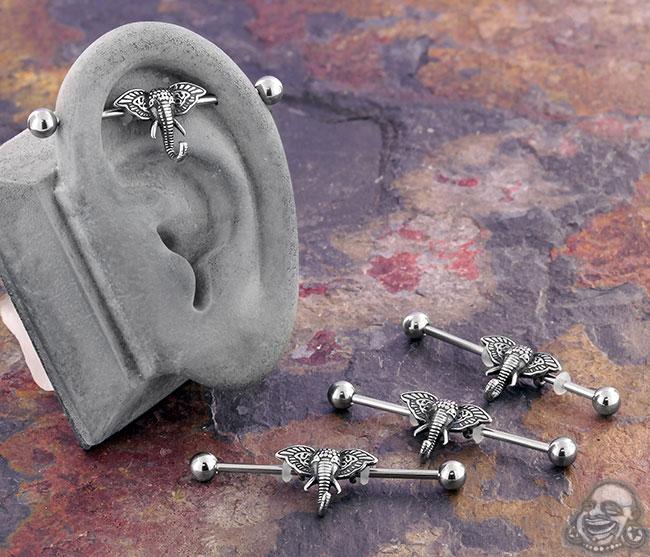 Adorned Elephant Industrial Barbell