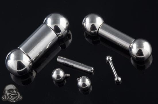 Length Stainless Steel Internally Threaded Straight Barbell 00g 1//2