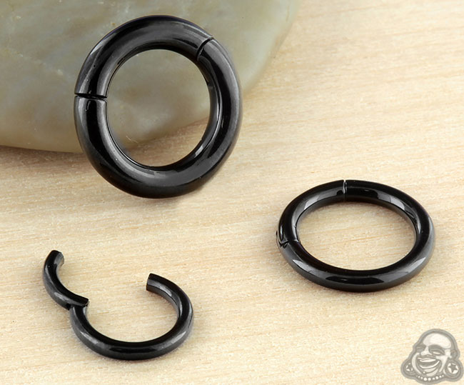 Black Steel Clicker Ring