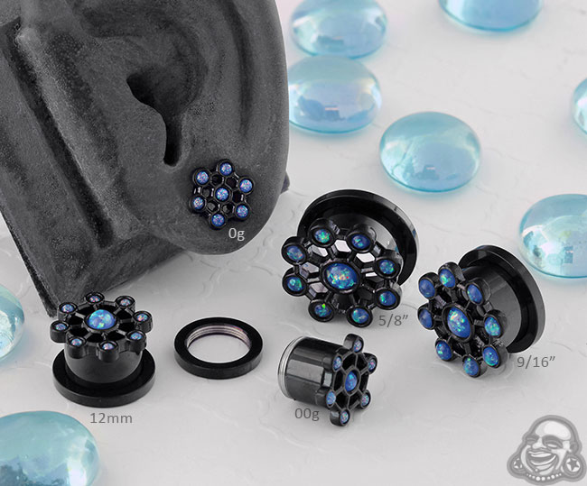 Black Coat Synthetic Opal Orb Plugs