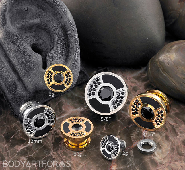 Black CZ Bling Disc Plugs