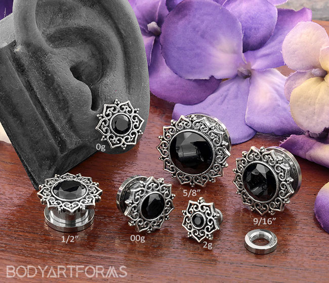 Black CZ Mandala Star Plugs