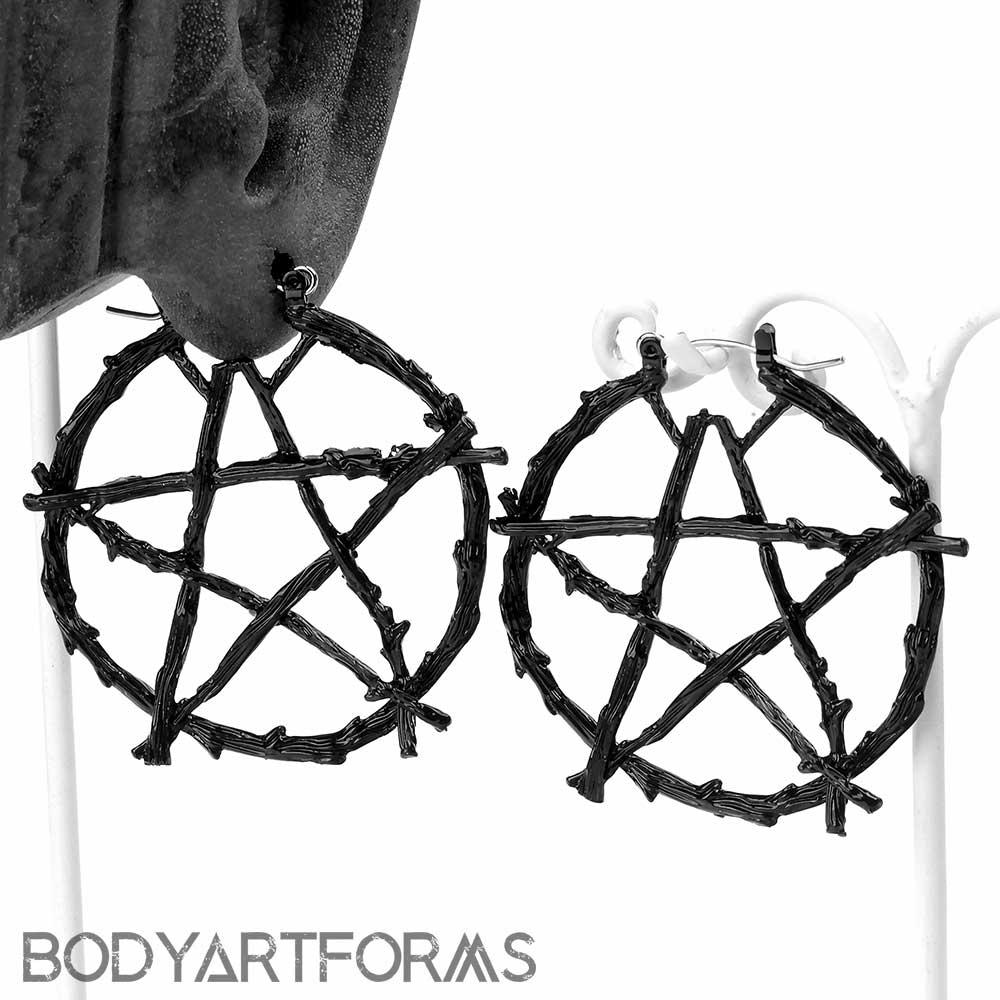 Black Pentagram Earrings