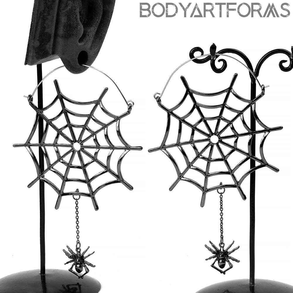 Black Spider and Web Dangle Earrings