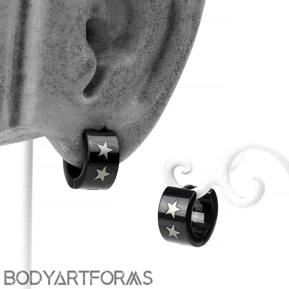 Steel Black Star Huggie Earring