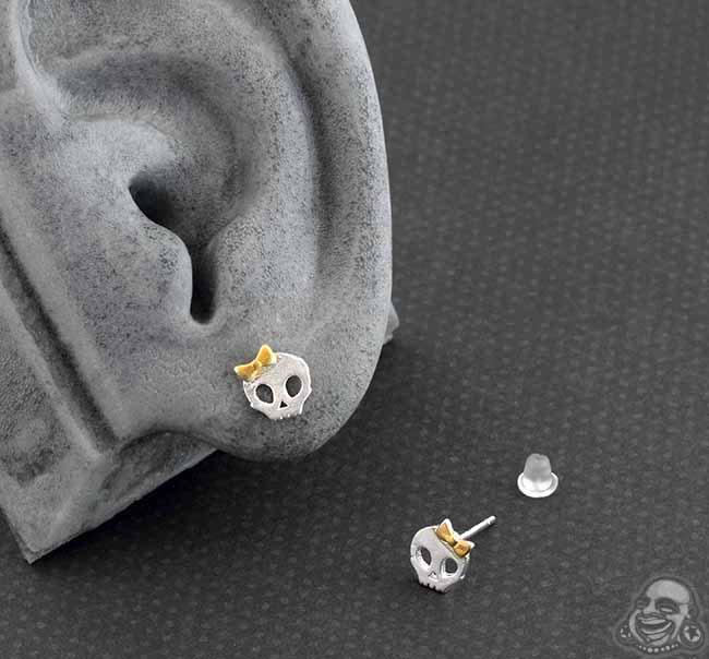 Bow Skull Stud Earrings