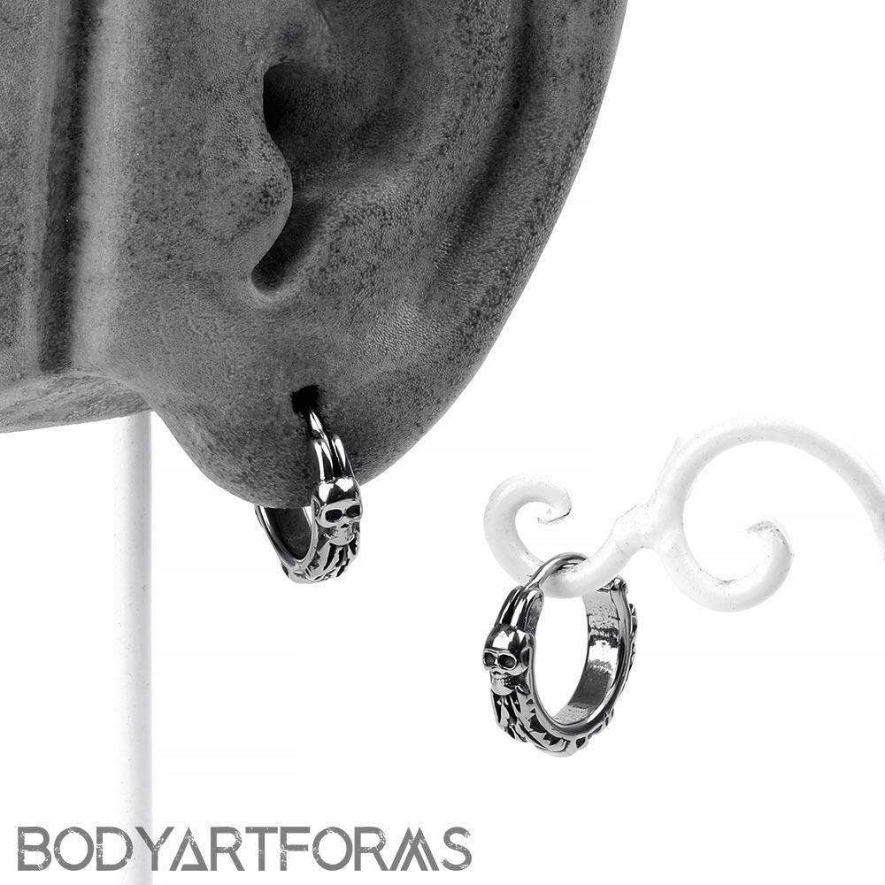 Steel Crypt Huggie Earring