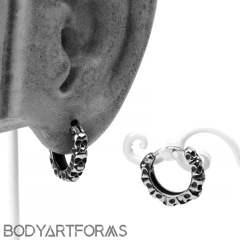 Steel Catacombs Huggie Earring