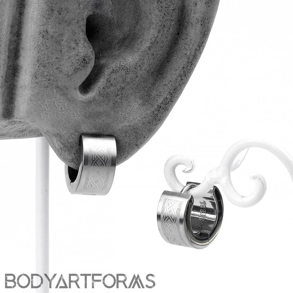 Steel Celtic Etched Huggie Earring