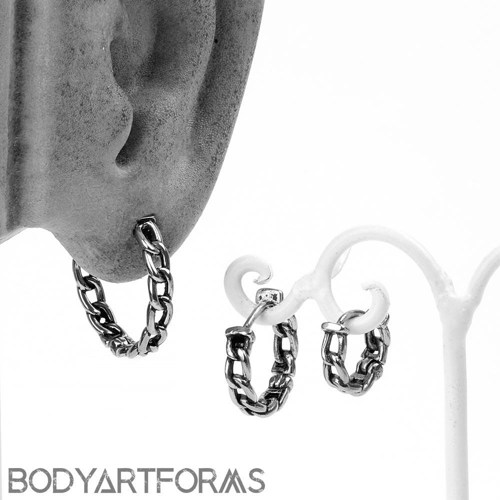 Steel Chain Link Huggie Earring