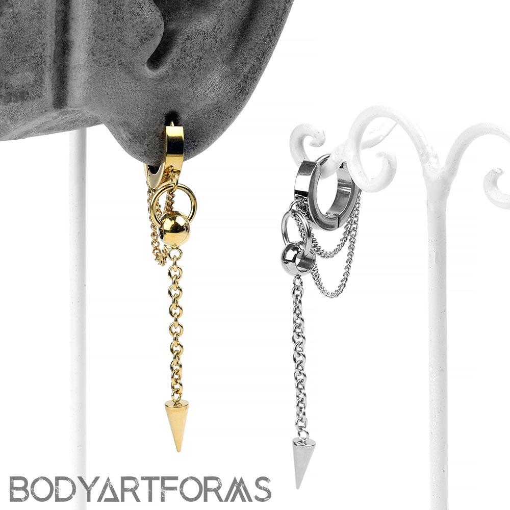 Steel Chained Spike Huggie Earring