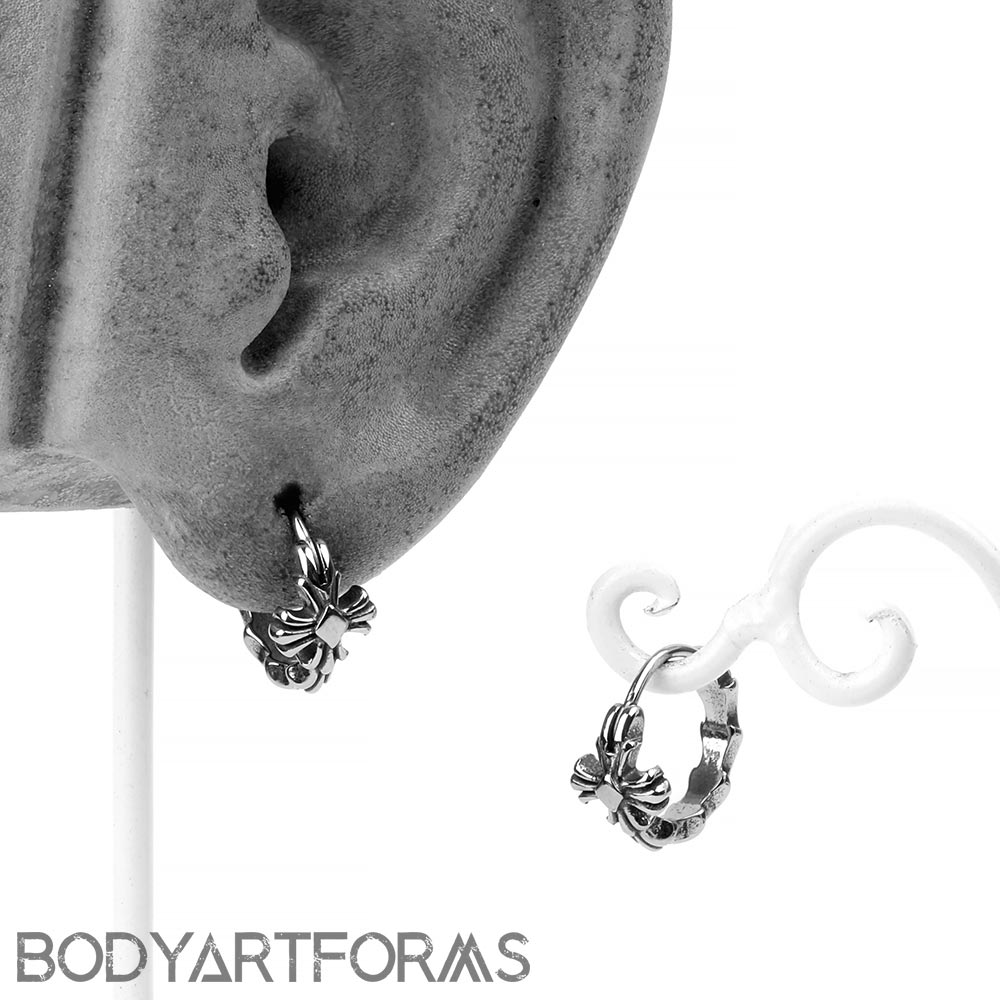 Steel Cross Huggie Earring