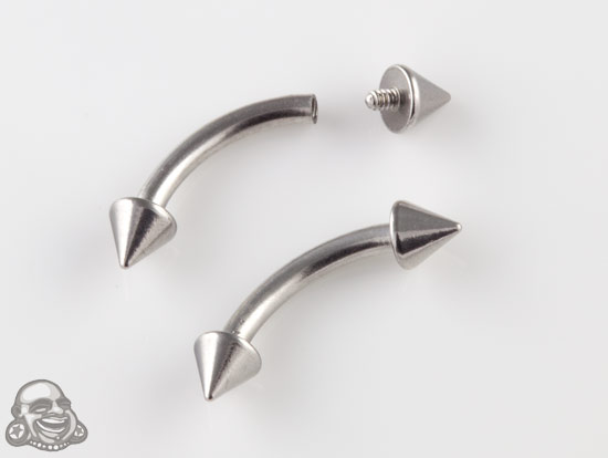 Internally Threaded Steel Curved Barbell with Cones