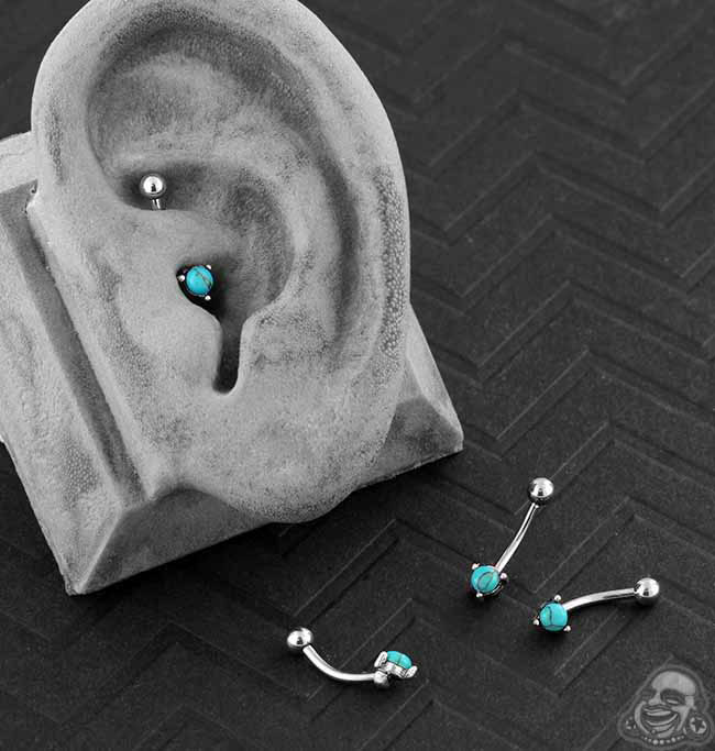 Curved Barbell with Synthetic Turquoise