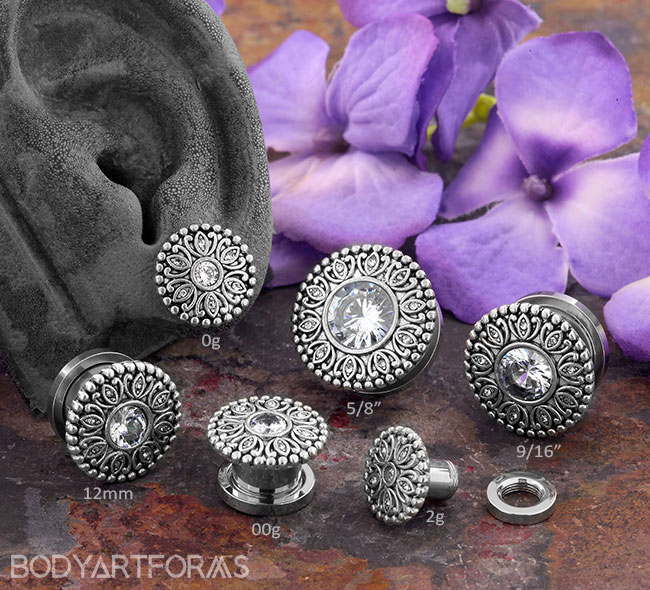 CZ Art Deco Lotus Plugs