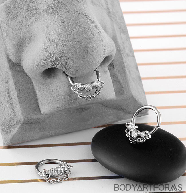 Steel CZ Trio Seamless Ring with Chain