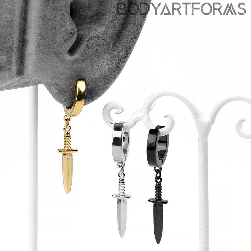 Dangle Dagger Huggies Earring