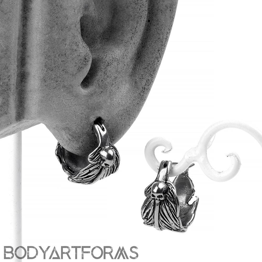 Steel Death's Wing Earrings