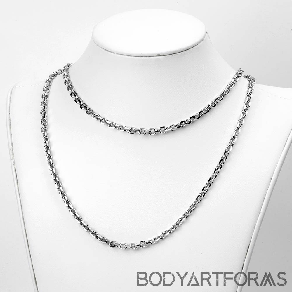 Stainless Steel Faceted Cable Link Chain