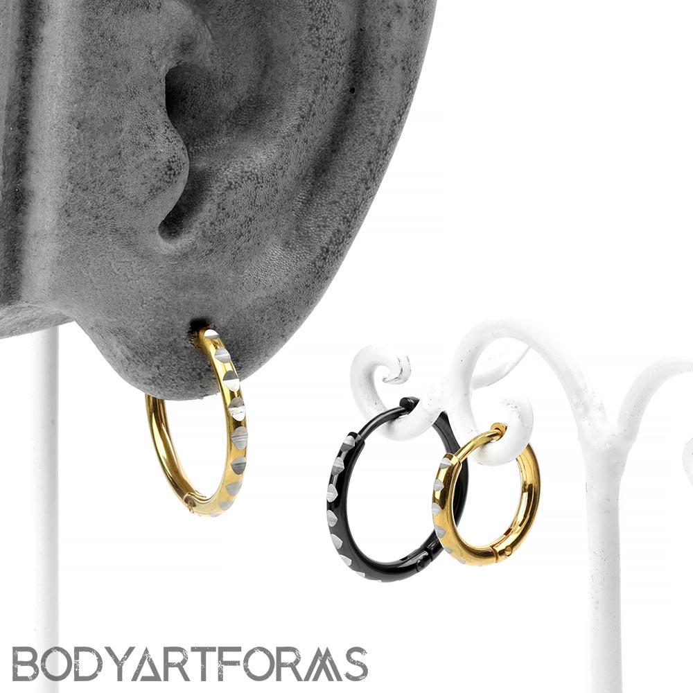Steel Faceted Huggie Hoop Earring