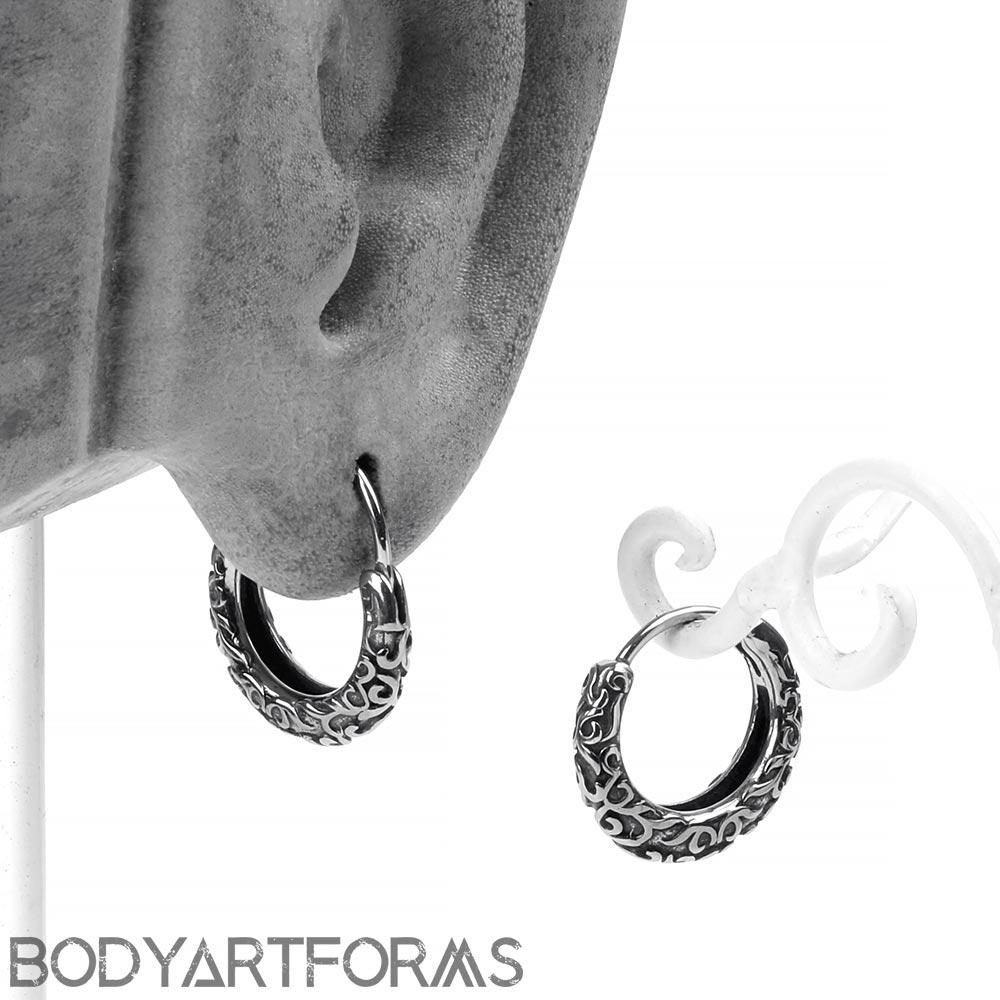 Steel Filigree Huggie Earring