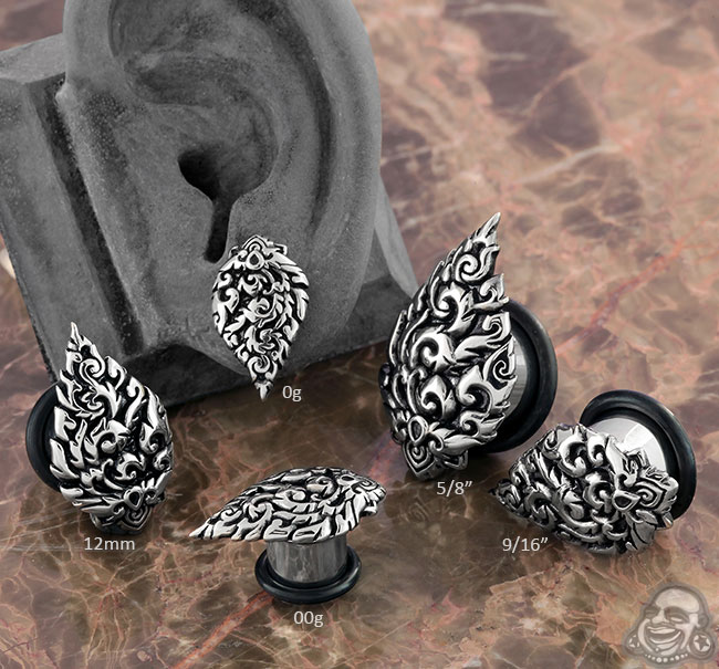 Steel Filigree Leaf Single Flare Plug