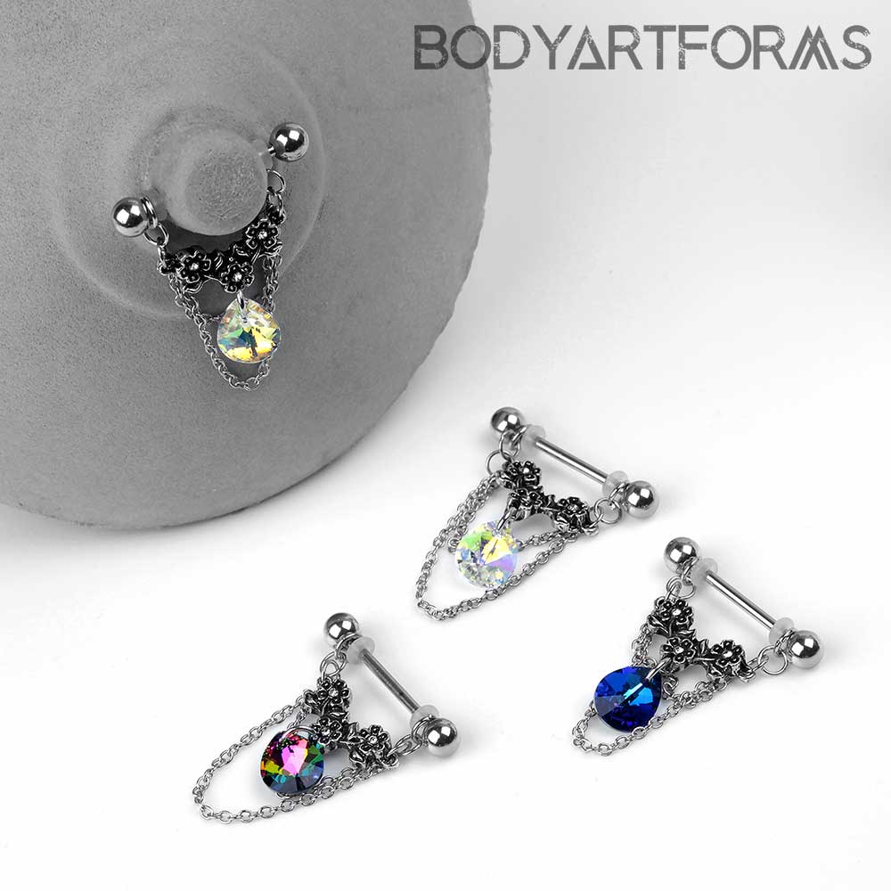 Floral Drop Nipple Dangle Barbell