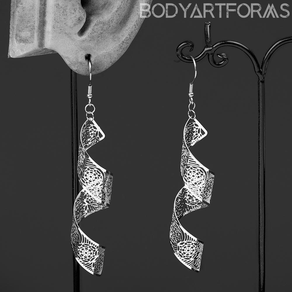 Steel Floral Ribbon Dangle Earrings