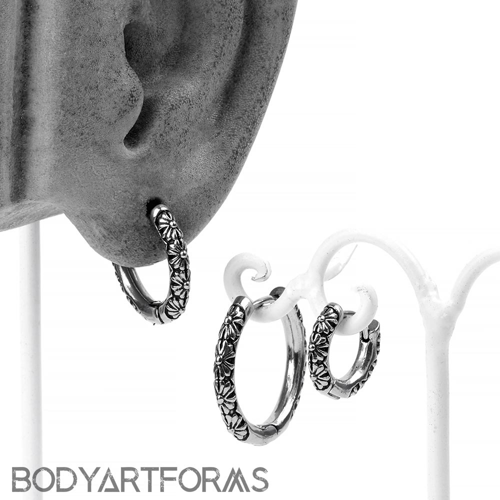 Steel Flower Huggie Earring