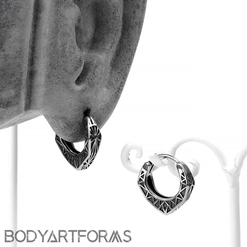 Steel Fractal Huggie Earring