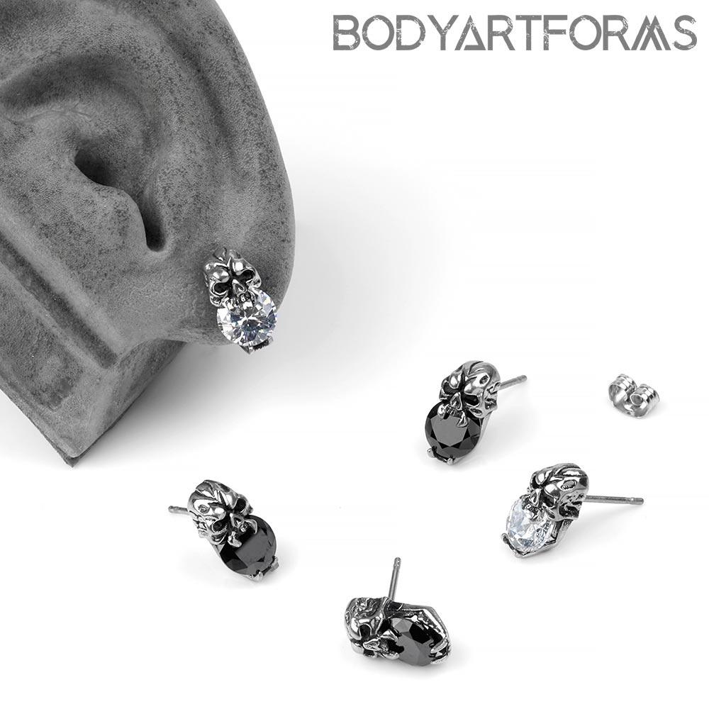 Steel Crystal Skull Stud Earrings