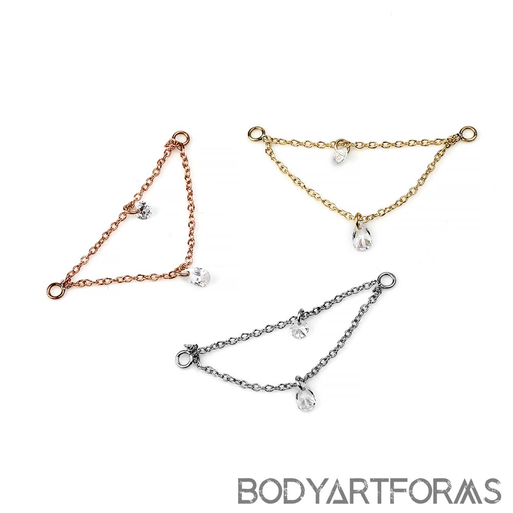 Steel Dual Chains with Clear CZ Gems