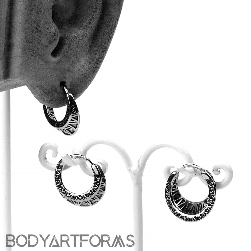 Steel Geometric Huggie Earring
